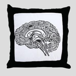 Science Geek Brain Throw Pillow