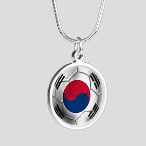 Korea Football Silver Round Necklace