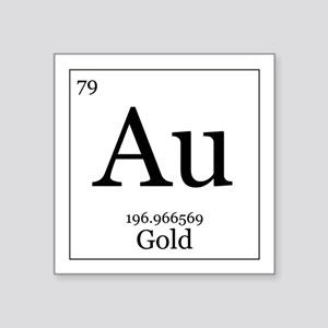 Periodic table gold stickers cafepress elements 79 gold square sticker 3 urtaz