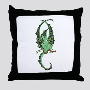 Perched Emerald Dragonette Throw Pillow