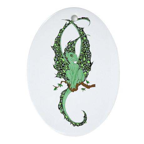 Perched Emerald Dragonette Ornament (Oval)