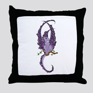 Perched Purple Dragonette Throw Pillow