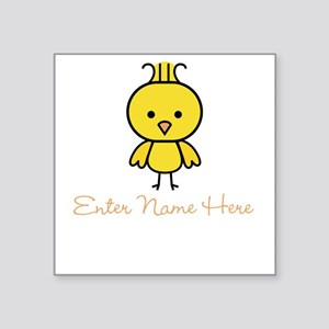 "Personalized Baby Chick Square Sticker 3"" x 3"""