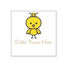 Personalized Baby Chick Square Sticker 3