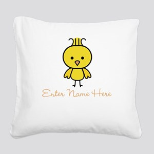 Personalized Baby Chick Square Canvas Pillow