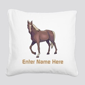 Personalized Horse Square Canvas Pillow