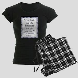 The Devil Can Cite Scripture Women's Dark Pajamas