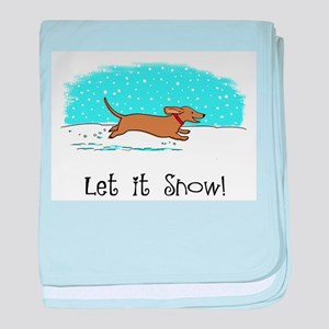 Dachshund Let it Snow baby blanket
