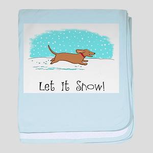 Dachshund Let it Snow baby blanket