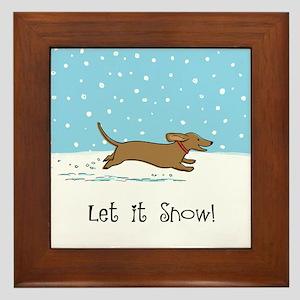 Dachshund Let it Snow Framed Tile