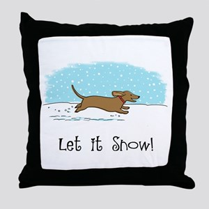 Dachshund Let it Snow Throw Pillow
