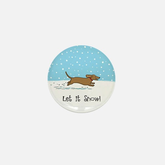 Dachshund Let it Snow Mini Button
