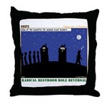 Restroom Role Reversal Throw Pillow