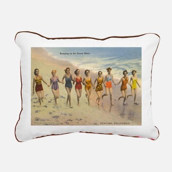 Vintage Ventura Beach Rectangular Canvas Pillow