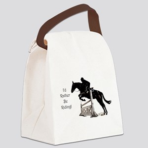 Cute Id Rather Be Riding Horse Canvas Lunch Bag
