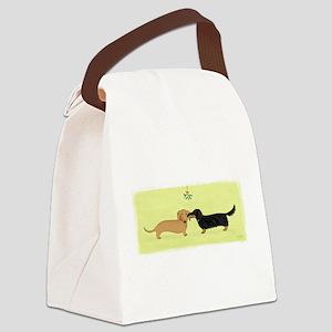 Dachshund Christmas Kiss Canvas Lunch Bag