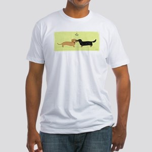 Dachshund Christmas Kiss Fitted T-Shirt