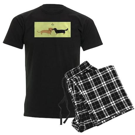 Dachshund Christmas Kiss Men's Dark Pajamas