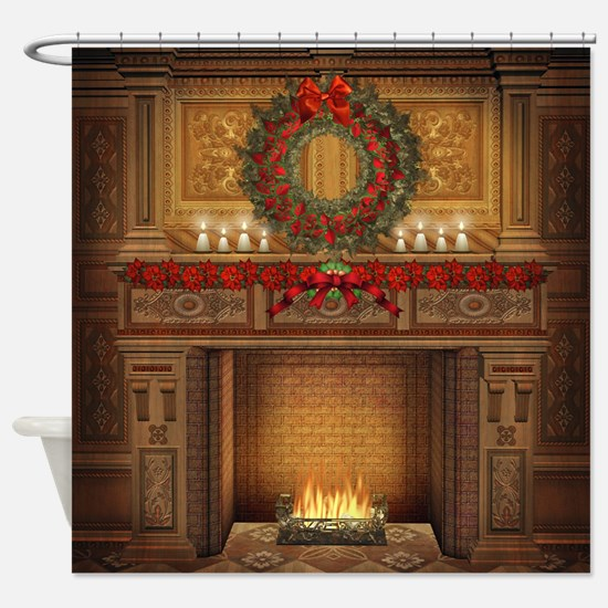 Christmas Fireplace Shower Curtain