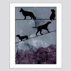 Dogs on a Wire Small Poster