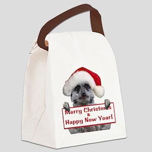 Helaine's Christmas Meerkat Canvas Lunch Bag