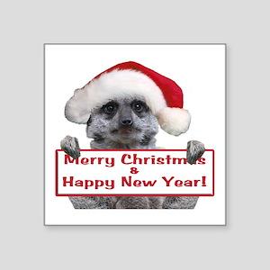 "Helaine's Christmas Meerkat Square Sticker 3"" x 3"""