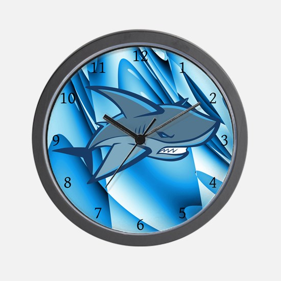 Aqua Shark Abstract Wall Clock