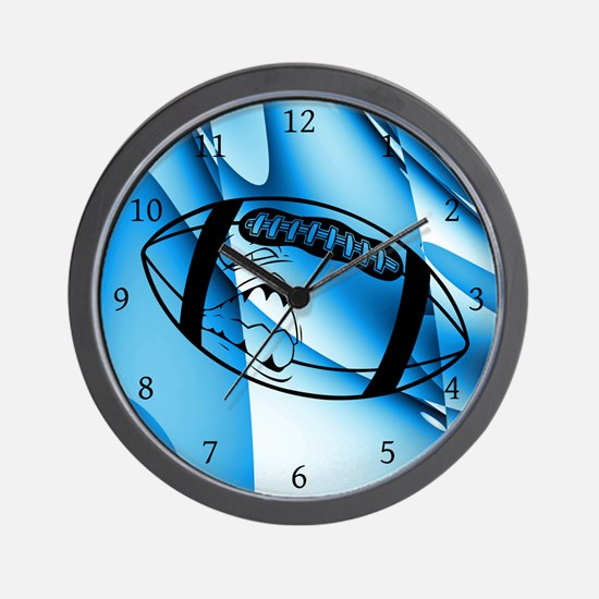 Aqua Blue Shark Football Wall Clock