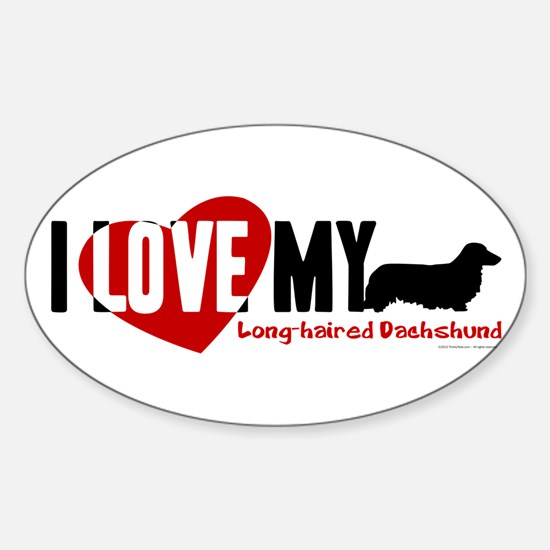 Dachshund [long-haired] Sticker (Oval)
