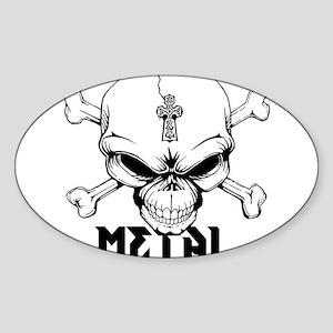 Metal Skull Sticker (Oval)