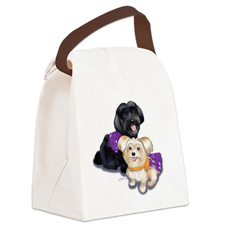 Havanese and Morkie Couple Canvas Lunch Bag