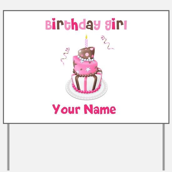 Birthday Girl Cake Yard Sign