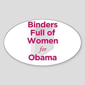 Binders Full of Women for Obama Sticker (Oval)