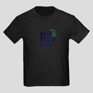 Michigan: Best State Ever Kids Dark T-Shirt