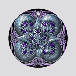 Silver & Purple Celtic Tapestry Ornament (Round)
