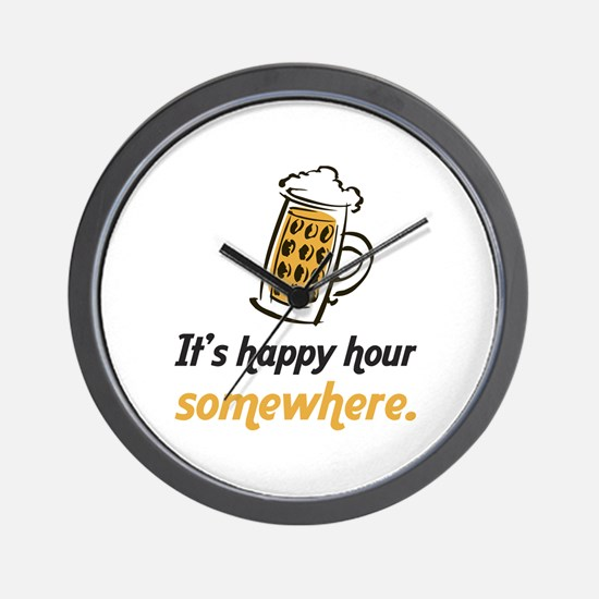 It's Happy Hour Somewhere Wall Clock