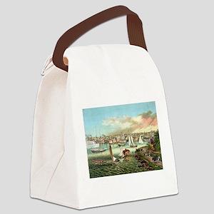 Vintage Newport Beach Canvas Lunch Bag