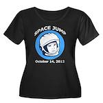 Space Jump Women's Plus Size Scoop Neck Dark T-Shi