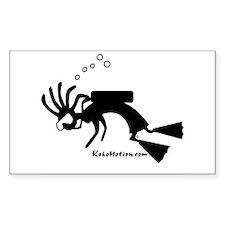 Kokopelli SCUBA Diver Rectangle Sticker