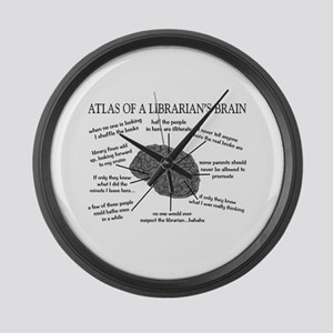 atlas of a librarians brain Large Wall Clock