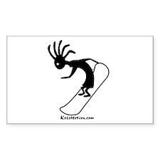Kokopelli Snowboarder Rectangle Sticker