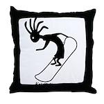 Kokopelli Snowboarder Throw Pillow