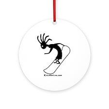 Kokopelli Snowboarder Ornament (Round)