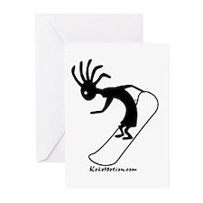 Kokopelli Snowboarder Greeting Cards (Pk of 10