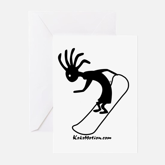Kokopelli Snowboarder Greeting Cards (Pk of 10
