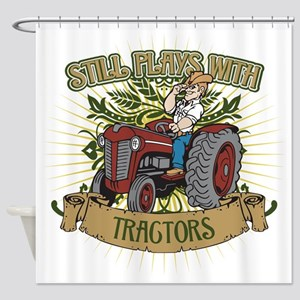 Still Plays with Red Tractors Shower Curtain