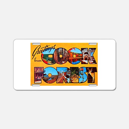 Cook Forest Greetings Aluminum License Plate