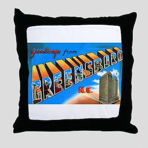 Greensboro North Carolina Greetings Throw Pillow
