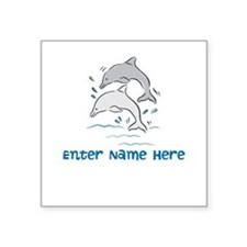 Personalized Dolphins Square Sticker 3