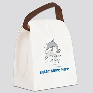 Personalized Dolphins Canvas Lunch Bag